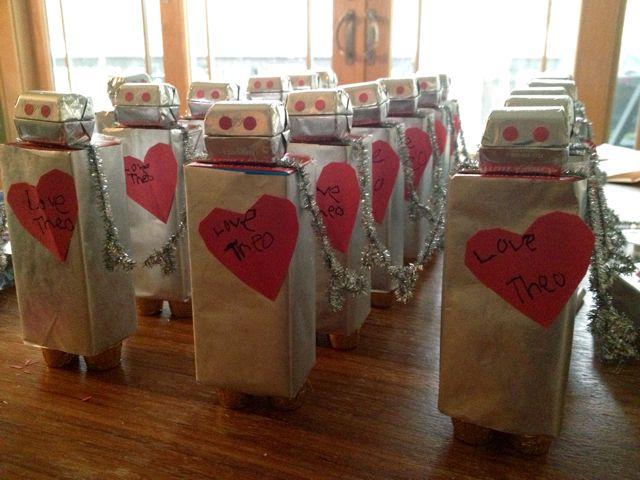 Valentines juice box robots